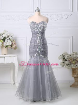 High Quality Tulle Sleeveless Floor Length Prom Dress and Beading and Ruching
