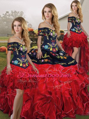 Embroidery and Ruffles Quinceanera Dress Red And Black Lace Up Sleeveless Floor Length