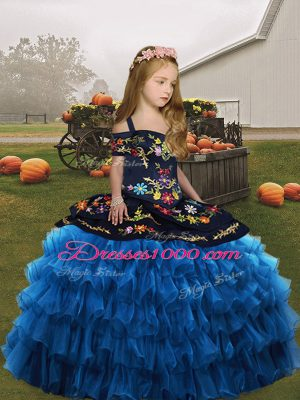 Simple Sleeveless Organza Floor Length Lace Up Pageant Gowns For Girls in Blue with Embroidery and Ruffled Layers