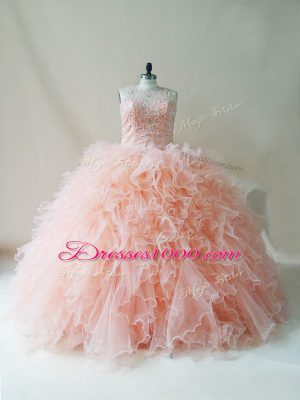 Peach Sleeveless Beading and Ruffles Floor Length Quinceanera Dress