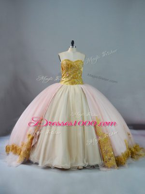 Fabulous Pink and Champagne Ball Gowns Sweetheart Sleeveless Beading and Lace and Appliques Lace Up 15 Quinceanera Dress Brush Train