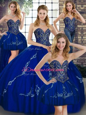 Royal Blue Lace Up Sweetheart Beading and Embroidery 15th Birthday Dress Tulle Sleeveless
