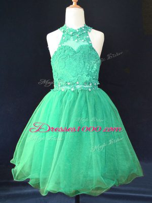 Dazzling Green Lace Up Flower Girl Dresses for Less Beading and Lace Sleeveless Mini Length