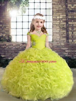 Custom Fit Yellow Green Straps Neckline Beading and Ruffles Little Girl Pageant Gowns Sleeveless Lace Up