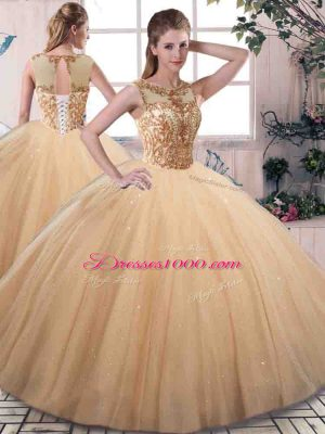 Floor Length Gold Quinceanera Dresses Scoop Sleeveless Lace Up