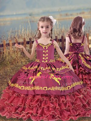 Wine Red Sleeveless Beading and Embroidery and Ruffled Layers Floor Length Little Girl Pageant Dress