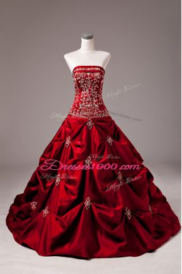 Luxury Ball Gowns Sleeveless Wine Red Wedding Gown Brush Train Lace Up
