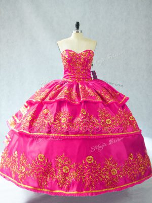 Luxury Hot Pink Sweetheart Lace Up Embroidery and Ruffled Layers Ball Gown Prom Dress Sleeveless