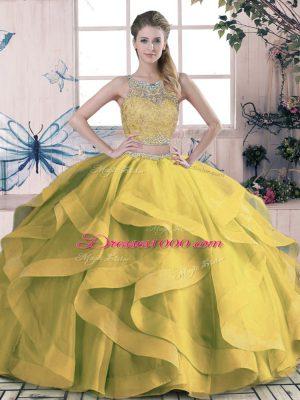 New Style Sleeveless Beading and Ruffles Lace Up Sweet 16 Dress