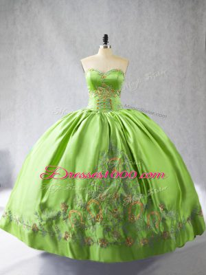 Glittering Sleeveless Floor Length Embroidery Lace Up Quinceanera Dresses with