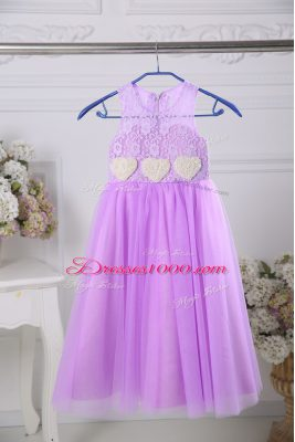 Scoop Sleeveless Flower Girl Dress Tea Length Lace Lavender Tulle