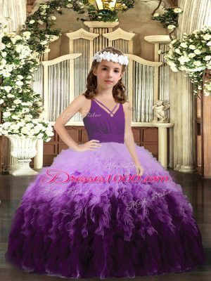 Fashion Multi-color Tulle Zipper Girls Pageant Dresses Sleeveless Floor Length Ruffles