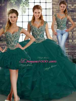 Trendy Peacock Green Straps Neckline Beading and Ruffles Quinceanera Gown Sleeveless Lace Up