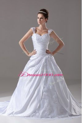 Superior Lace Up Wedding Dresses White for Wedding Party with Beading and Appliques Brush Train