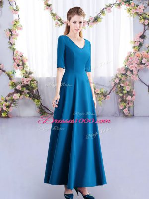 Designer Teal Half Sleeves Ankle Length Ruching Zipper Wedding Guest Dresses