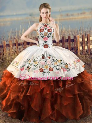 Rust Red Organza Lace Up Halter Top Sleeveless Floor Length Quinceanera Dresses Embroidery and Ruffles