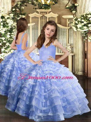 Straps Sleeveless Lace Up Little Girl Pageant Gowns Lavender Organza