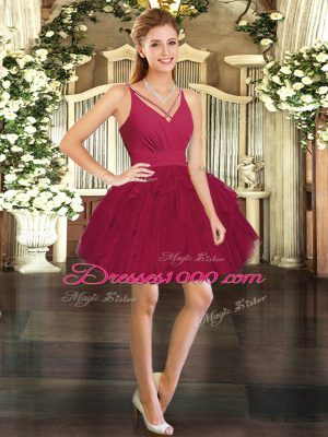 Wine Red Ball Gowns V-neck Sleeveless Tulle Mini Length Backless Ruffles Womens Party Dresses