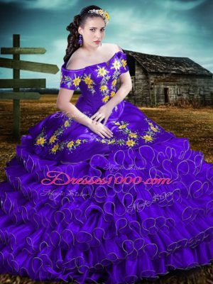 Fine Purple Off The Shoulder Neckline Embroidery and Ruffles Quinceanera Gowns Sleeveless Lace Up