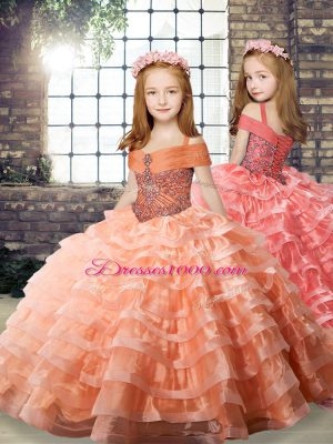 Brush Train Ball Gowns Little Girl Pageant Dress Orange Straps Organza Long Sleeves Lace Up
