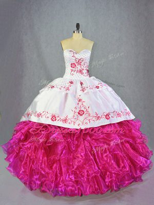 Sweetheart Sleeveless Vestidos de Quinceanera Brush Train Beading and Embroidery and Ruffles Hot Pink Organza