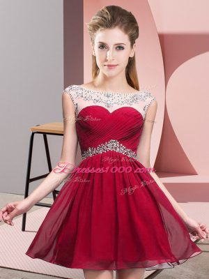 Top Selling Red Backless Prom Dresses Beading and Ruching Sleeveless Mini Length