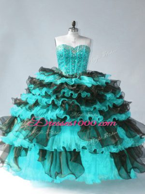 Sleeveless Floor Length Beading and Ruffled Layers Lace Up Vestidos de Quinceanera with Blue And Black
