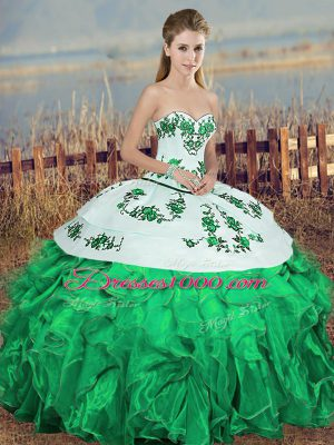 Gorgeous Sleeveless Lace Up Floor Length Embroidery and Ruffles and Bowknot Vestidos de Quinceanera