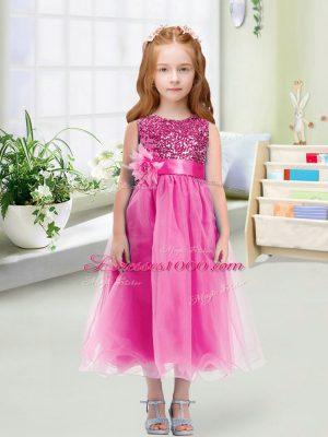 Attractive Rose Pink Empire Scoop Sleeveless Organza Tea Length Zipper Sequins and Hand Made Flower Flower Girl Dresses