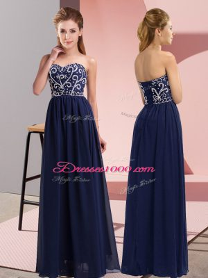 Sleeveless Floor Length Beading Lace Up Evening Dress with Navy Blue