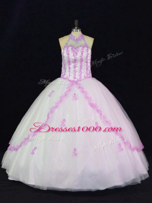 Super White Halter Top Neckline Appliques Ball Gown Prom Dress Sleeveless Lace Up