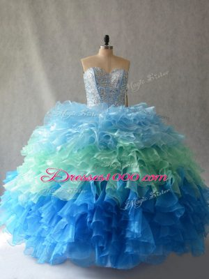Romantic Sweetheart Sleeveless Organza Quinceanera Gown Beading and Ruffles Lace Up
