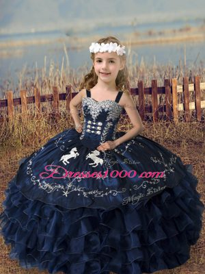 Straps Sleeveless Lace Up Little Girl Pageant Dress Navy Blue Organza