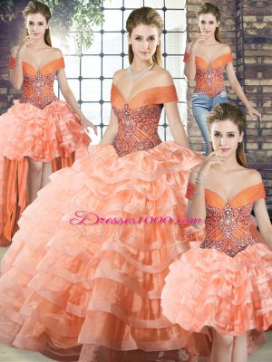 Deluxe Beading and Ruffled Layers Ball Gown Prom Dress Peach Lace Up Sleeveless Brush Train