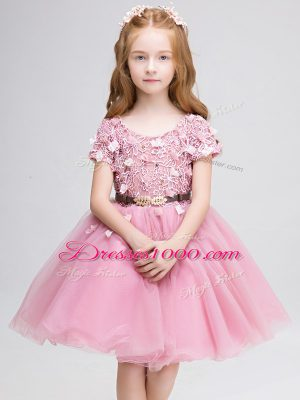 Short Sleeves Lace and Belt Lace Up Toddler Flower Girl Dress