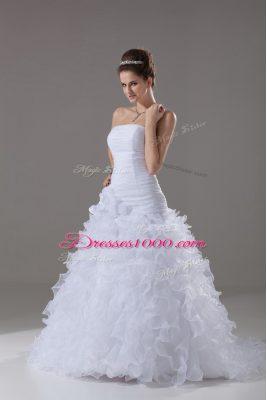 Gorgeous White Sleeveless Ruffles Lace Up Wedding Dress