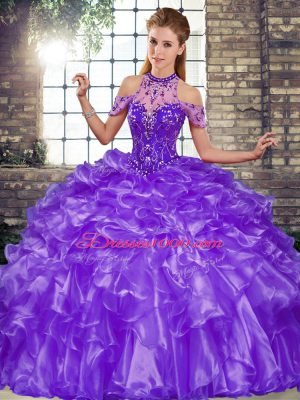 Sophisticated Purple Organza Lace Up 15 Quinceanera Dress Sleeveless Floor Length Beading and Ruffles
