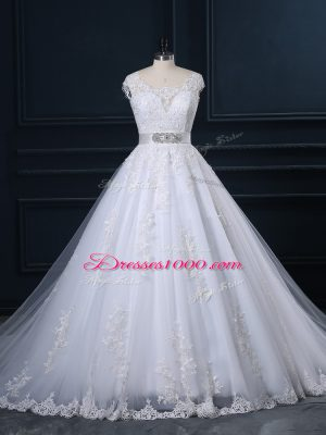Custom Made Zipper Wedding Gowns White for Wedding Party with Beading and Lace Court Train