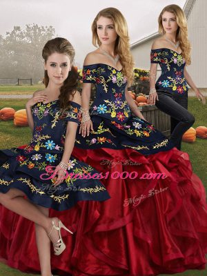 Latest Floor Length Red And Black Sweet 16 Dresses Off The Shoulder Sleeveless Lace Up