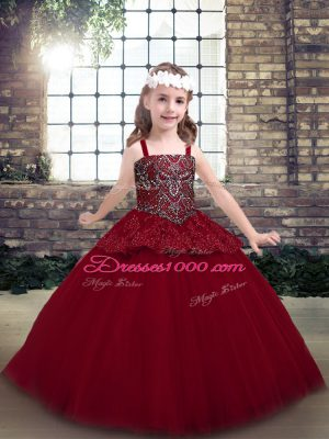 Floor Length Red Pageant Dress for Teens Straps Sleeveless Zipper