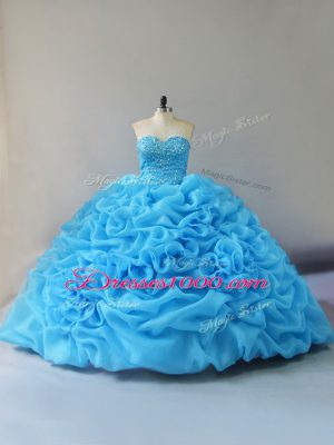 Customized Sweetheart Sleeveless Quinceanera Dress Court Train Beading and Pick Ups and Hand Made Flower Baby Blue Organza