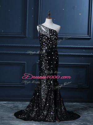 Black Mermaid One Shoulder Sleeveless Sequined Brush Train Backless Beading Juniors Evening Dress