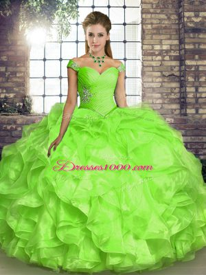 Yellow Green Organza Lace Up Off The Shoulder Sleeveless Floor Length Quince Ball Gowns Beading and Ruffles