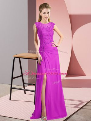 Chic Floor Length Zipper Homecoming Dress Fuchsia for Prom and Party and Military Ball with Beading