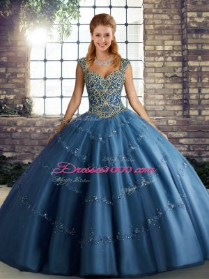 Glamorous Blue Lace Up Straps Beading and Appliques Sweet 16 Quinceanera Dress Tulle Sleeveless