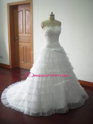 Sophisticated White Tulle Lace Up Wedding Dresses Sleeveless Brush Train Beading and Ruffled Layers