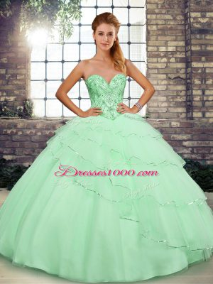 Apple Green Ball Gowns Sweetheart Sleeveless Tulle Brush Train Lace Up Beading and Ruffled Layers Ball Gown Prom Dress