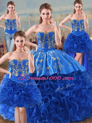 Embroidery and Ruffles Quinceanera Gown Royal Blue Lace Up Sleeveless Floor Length