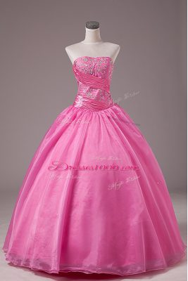 Floor Length Lace Up Quince Ball Gowns Rose Pink for Sweet 16 and Quinceanera with Embroidery