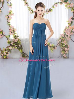 Teal Empire Chiffon Sweetheart Sleeveless Ruching Floor Length Zipper Quinceanera Court of Honor Dress